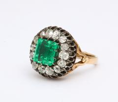 Antique Square Cut Emerald and Old Mine Diamond Ring GIA Certified - 1806376