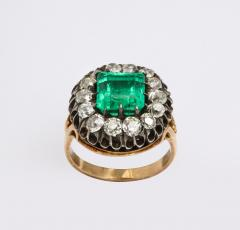 Antique Square Cut Emerald and Old Mine Diamond Ring GIA Certified - 1806380