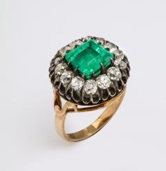 Antique Square Cut Emerald and Old Mine Diamond Ring GIA Certified - 1806381