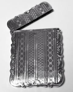 Antique Sterling Silver Card Case Birmingham 1866 Hilliard and Thomason - 1676702