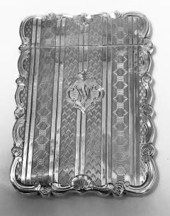 Antique Sterling Silver Card Case Birmingham 1866 Hilliard and Thomason - 1676704