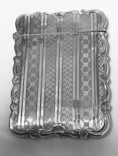 Antique Sterling Silver Card Case Birmingham 1866 Hilliard and Thomason - 1676705