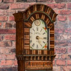 Antique Swedish Allmoge Painted Grandfather Clock - 982378