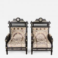 Antique Syrian Moorish Style Black Armchairs - 339177