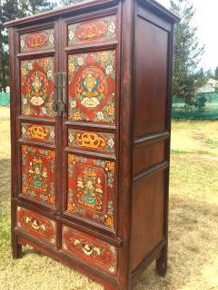Beau Antique Tibetan Cabinet Hand Painted   375854