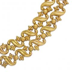 Antique Two Row Gold Repouss Link Necklace - 227683