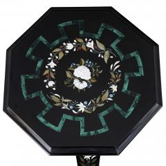 Antique Victorian Derbyshire Marble Octagonal Table w Floral Pietra Dura Inlay - 2022745