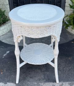 Antique Victorian Nantucket Wicker Oval Side Table - 2126598