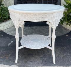 Antique Victorian Nantucket Wicker Oval Side Table - 2126599