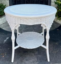 Antique Victorian Nantucket Wicker Oval Side Table - 2126600
