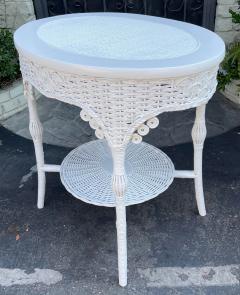 Antique Victorian Nantucket Wicker Oval Side Table - 2126602