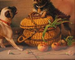 Antique Watercolor Painting of Dogs - 2019809