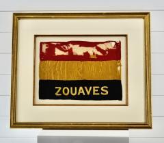 Antique Zouaves Flag Banner Silk Framed - 1977050