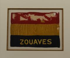 Antique Zouaves Flag Banner Silk Framed - 1977051
