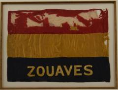 Antique Zouaves Flag Banner Silk Framed - 1977052