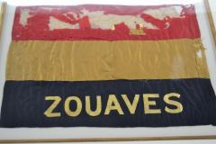 Antique Zouaves Flag Banner Silk Framed - 1977054