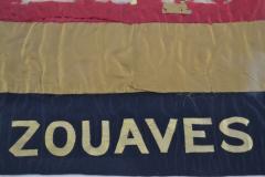 Antique Zouaves Flag Banner Silk Framed - 1977056