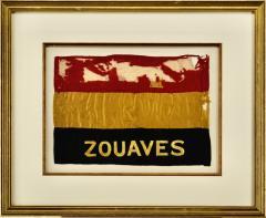 Antique Zouaves Flag Banner Silk Framed - 1977467