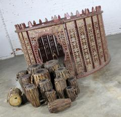 Antique burmese orchestra hsain wain drum percussion circle carved panel table - 1598622