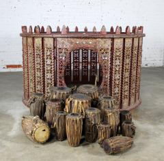 Antique burmese orchestra hsain wain drum percussion circle carved panel table - 1598628