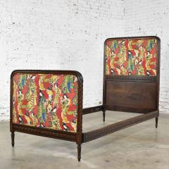 Antique french carved walnut and upholstered twin bed with asian figural fabric - 1682286