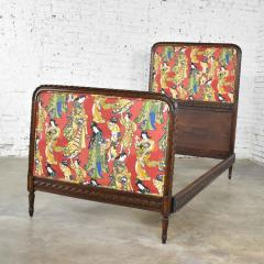Antique french carved walnut and upholstered twin bed with asian figural fabric - 1682287