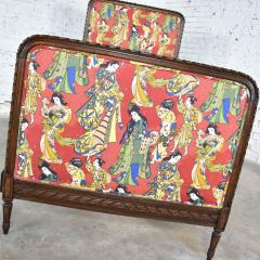 Antique french carved walnut and upholstered twin bed with asian figural fabric - 1682293