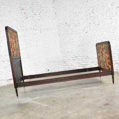 Antique french carved walnut and upholstered twin bed with asian figural fabric - 1682317
