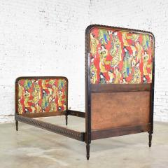 Antique french carved walnut and upholstered twin bed with asian figural fabric - 1682318