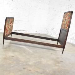 Antique french carved walnut and upholstered twin bed with asian figural fabric - 1682319