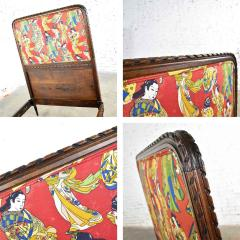 Antique french carved walnut and upholstered twin bed with asian figural fabric - 1682320