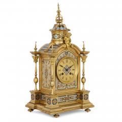 Antique gilt bronze and champlev enamel clock set - 1274465