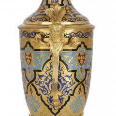 Antique gilt bronze and champlev enamel clock set - 1274466
