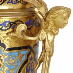 Antique gilt bronze and champlev enamel clock set - 1274468