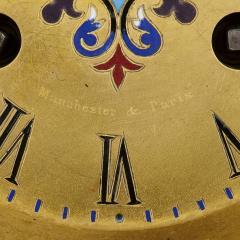 Antique gilt bronze and champlev enamel clock set - 1274469