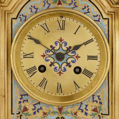Antique gilt bronze and champlev enamel clock set - 1274472