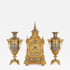 Antique gilt bronze and champlev enamel clock set - 1275886