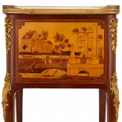 Antique gilt bronze mounted occasional table with marquetry panels - 1683184