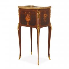 Antique gilt bronze mounted occasional table with marquetry panels - 1683202