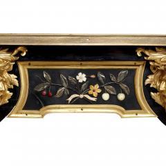 Antique mid 19th century ebonised wood gilt bronze and pietra dura desk - 1924923