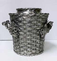 Antique silver plated trompe loeil Wine Cooler Bucket England C 1880 - 1821137