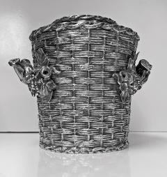 Antique silver plated trompe loeil Wine Cooler Bucket England C 1880 - 1821140