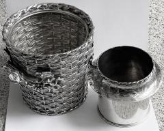 Antique silver plated trompe loeil Wine Cooler Bucket England C 1880 - 1821141
