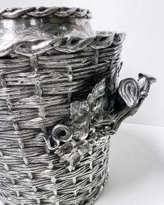 Antique silver plated trompe loeil Wine Cooler Bucket England C 1880 - 1821143