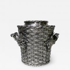 Antique silver plated trompe loeil Wine Cooler Bucket England C 1880 - 1824331