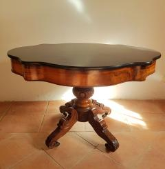 Antique walnut and black marble top table France 1890s - 775282