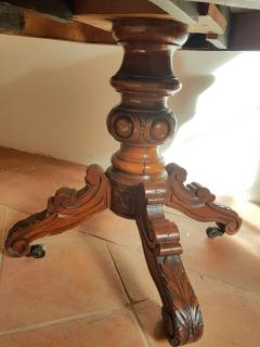 Antique walnut and black marble top table France 1890s - 775284