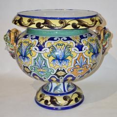Antoine Montagnon Montagnon French 19th Century Blue Yellow Green Majolica Jardini re on Stand - 815505