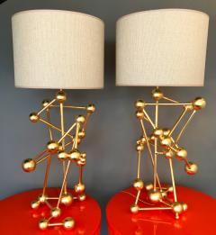 Antonio Cagianelli Contemporary Pair of Lamps Atomic Gold Leaf by Antonio Cagianelli Italy - 522386