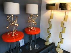 Antonio Cagianelli Contemporary Pair of Lamps Atomic Gold Leaf by Antonio Cagianelli Italy - 522387